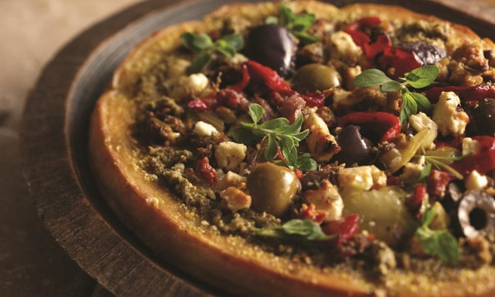 Mediterranean-style whole wheat pizza